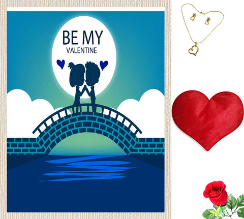 meSleep Be My Valentine  Canvas (14x18) With Free Artificial Rose & Pendant Set, Color: Blue