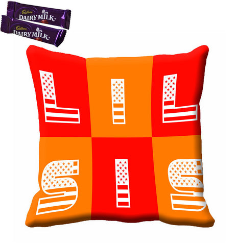 meSleep Orange Lil Sister Rakhi Cushion With Chocolates, Color: Orange