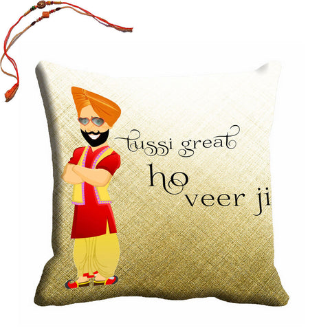 meSleep Great Veer Ji Rakhi Cushion With Beautiful Rakhi's, Color: Multi