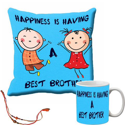 meSleep Blue Best Brother Rakhi Cushion Cover and Mug Combo With Beautiful Rakhi's