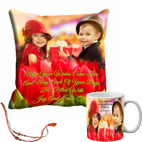 meSleep Brother & Sister Rakhi Cushion Cover and Mug Combo With Beautiful Rakhi's
