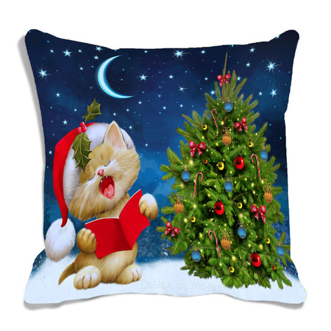 meSleep Multi Color Christmas Tree Digitally Printed Cushion, Color: Multi