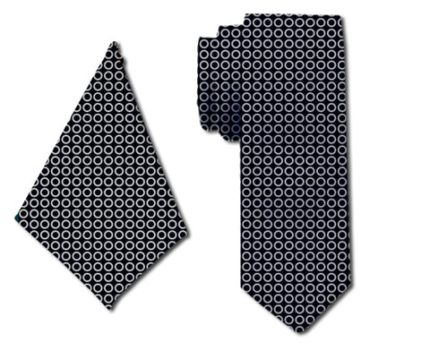 meSleep Perfect Circles Tie with Matching Pocket Square for Men