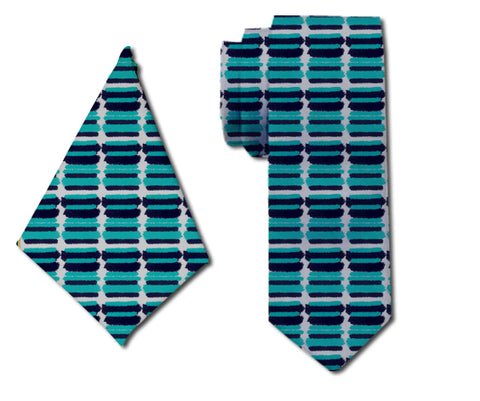 meSleep Posh Shades of Blue Neck Tie with Matching Pocket Square for Men