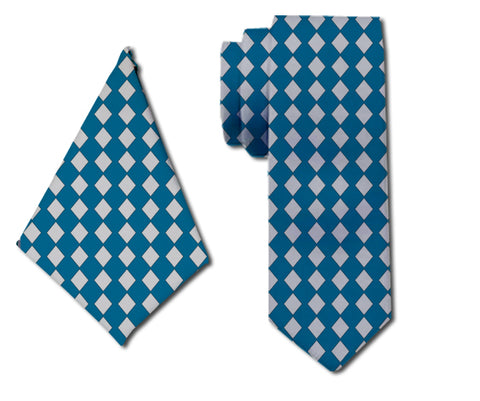 meSleep Stately Blue Neck Tie with Matching Pocket Square for Men
