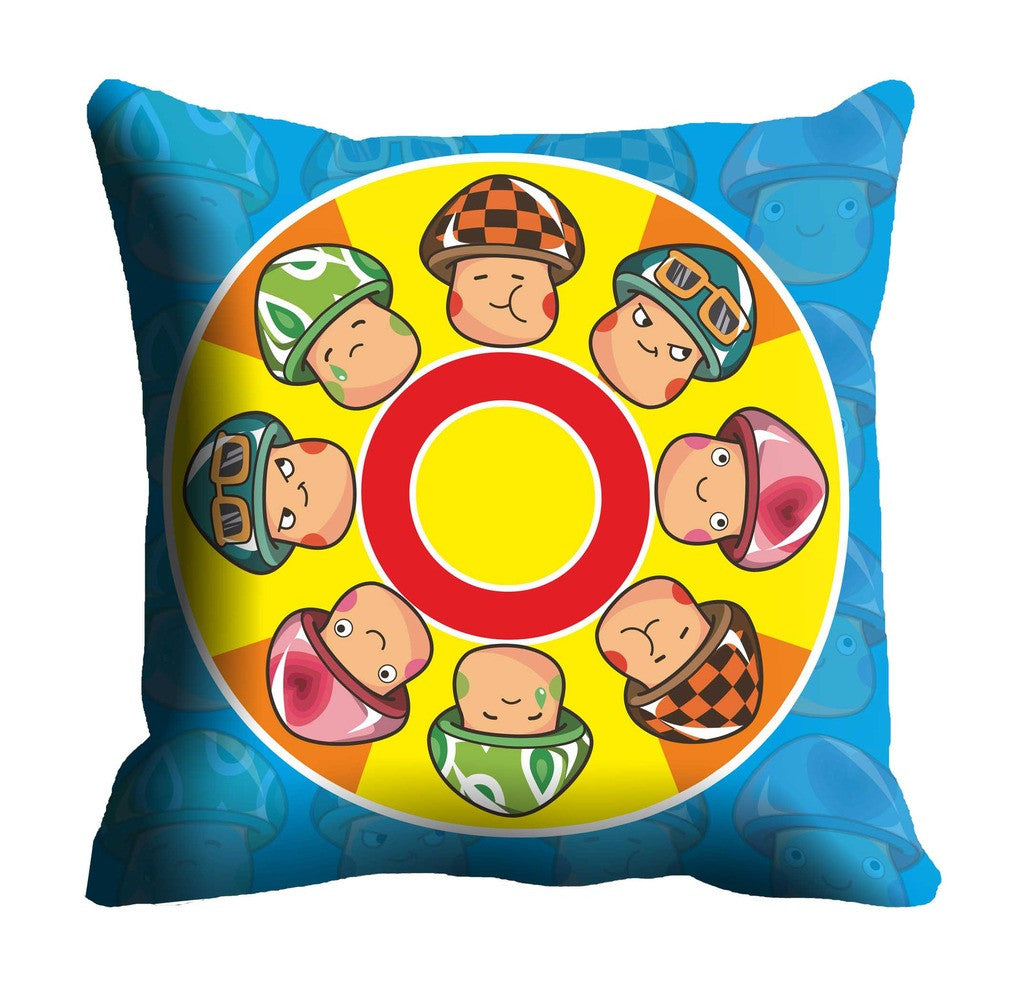 Blue Yellow Faces Digitally Printed Cushion, Color: Multi