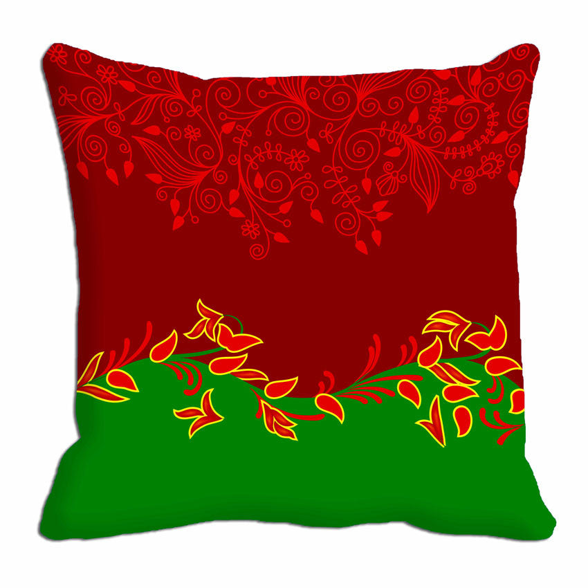meSleep Peacock Floral Cushion, Color: Red