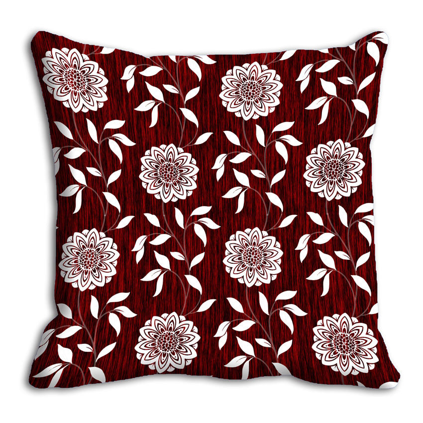 meSleep Mehroon Floral Cushion, Color: Red