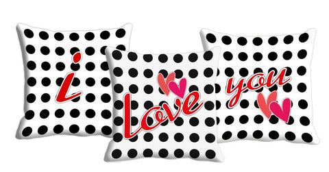 "3pc Combo meSleep ""I Love You"" Digitally Printed Cushion, Color: Multi"