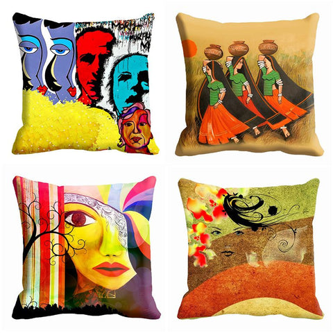 4pc combo -meSleep 3D 16x16 inch Cushion, Color: Multi