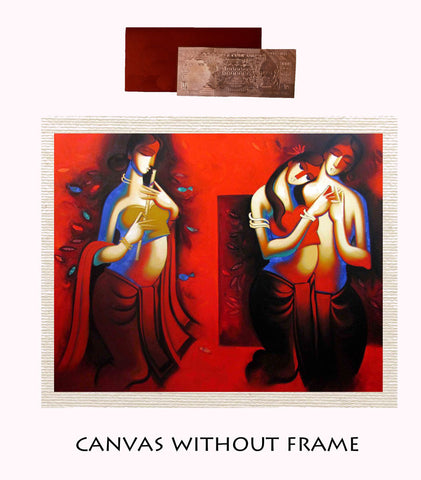 Canvas Abstract painting without frame + Silver plated Rs.1000 replica note, Color: Red