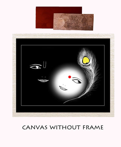 Canvas Abstract painting without frame + Silver plated Rs.1000 replica note, Color: Black