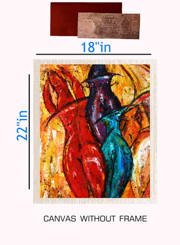 Canvas Abstract painting without frame + Silver plated Rs.1000 replica note, Color: Multi
