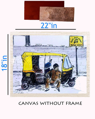 Canvas Abstract painting without frame + Silver plated Rs.1000 replica note, Color: White