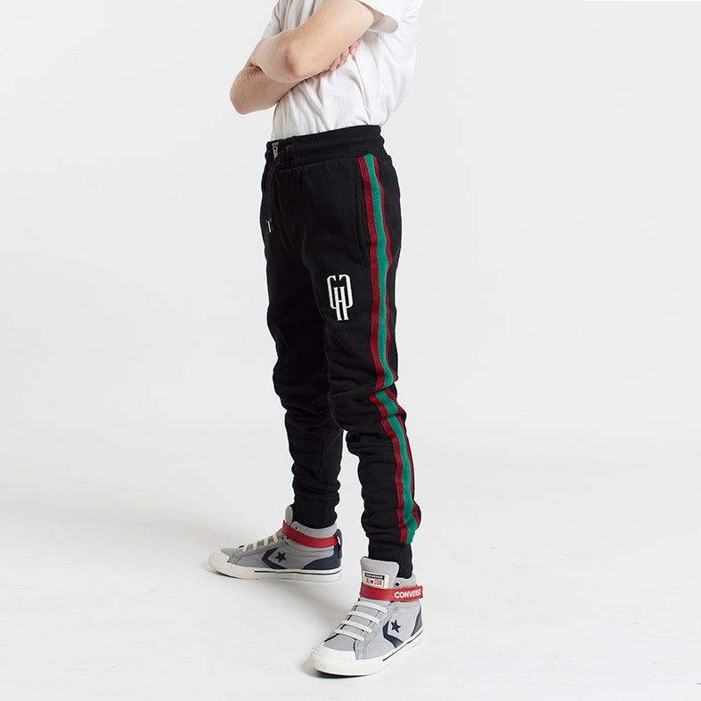 Gifted Heroes Retro Boys Jogger with taping, BLACK