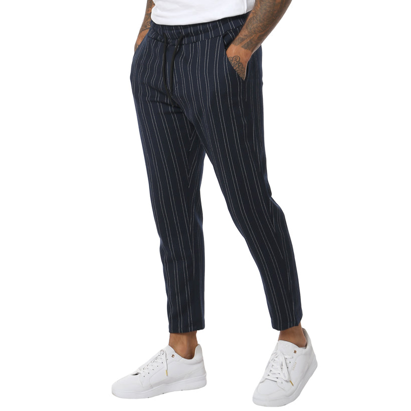 Gifted Pinstripe Navy Mens Woven Jogger - Bottoms - Giftedheroes