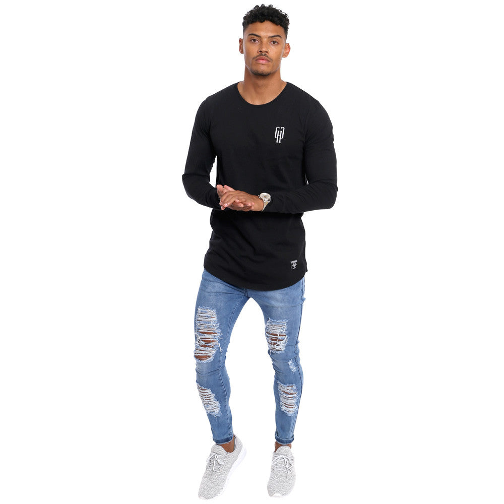 4372e1c5b25d Gifted Heroes Caviar black Muscle fit Men s long sleeve T Shirt - T Shirts  Mens -