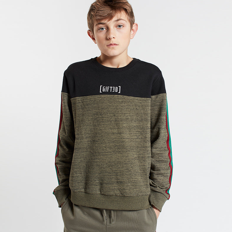 Gifted Heroes Retro Boy's Sweat Olive