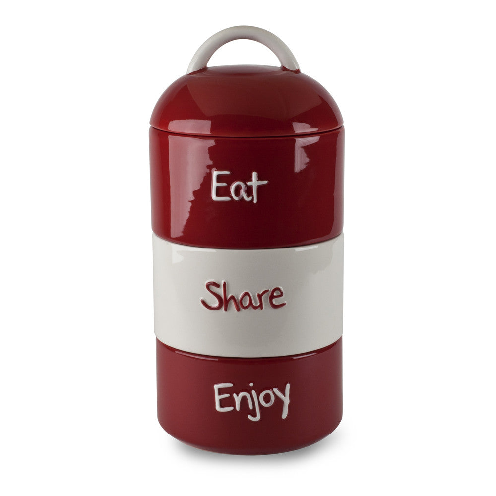 """Eat Share Enjoy"" 3-Piece 12"" Ceramic Stackable Canister"