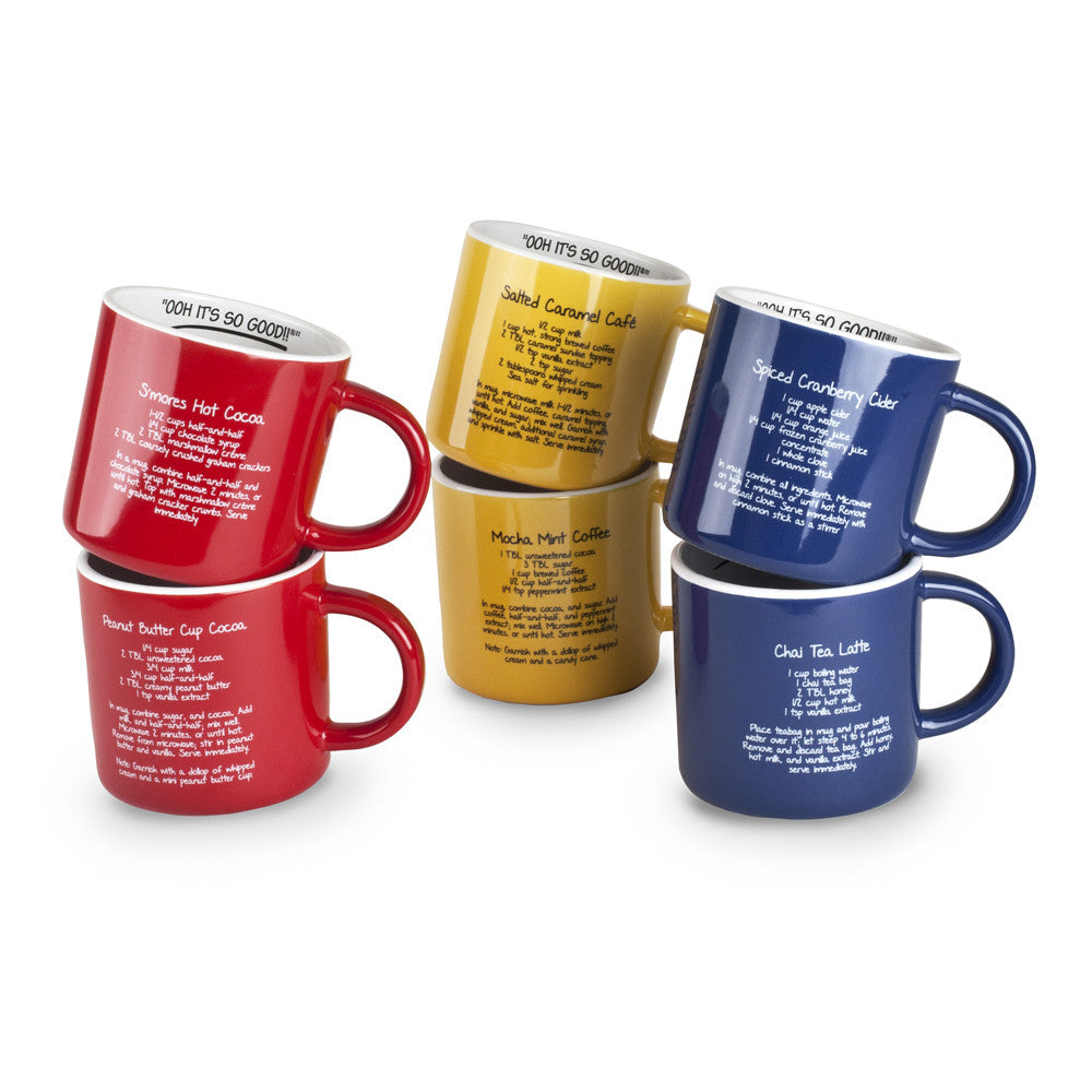 Set of Six 16oz. Stoneware Recipe Mugs