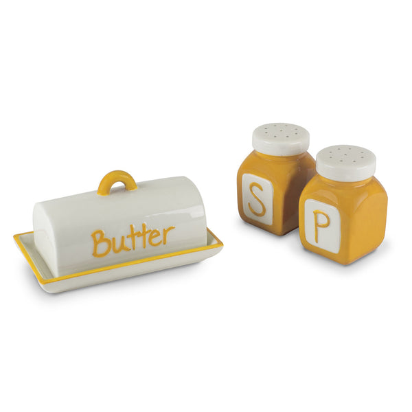 Over-Sized Ceramic Salt & Pepper Shakers and Covered Butter Dish Set