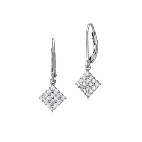 MASSETE Sterling Silver 925 Pave CZ Sideways Square Leverback Earrings Dangle