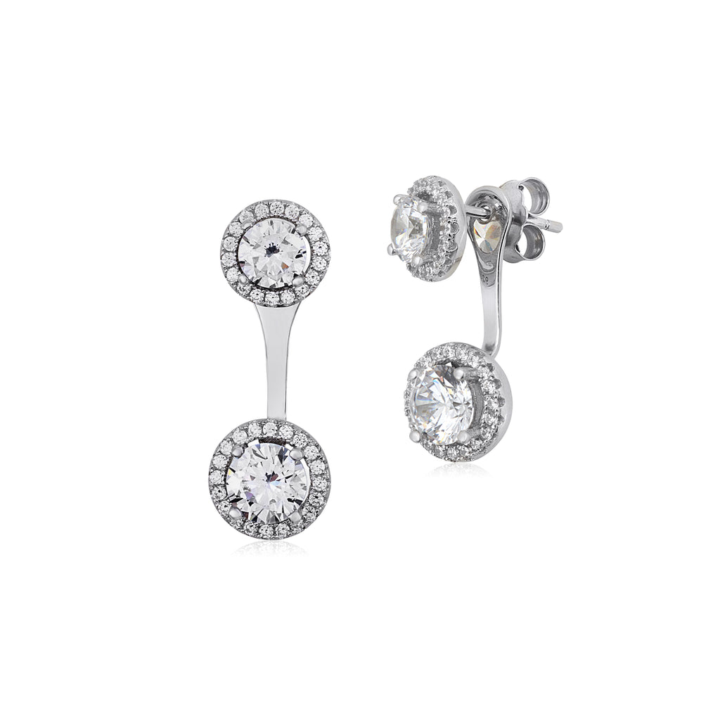 7befde13ac9a5 MASSETE Sterling Silver 925 Round Simulated Diamond Halo Front Back Ear  Jacket Post Earring Interchangable