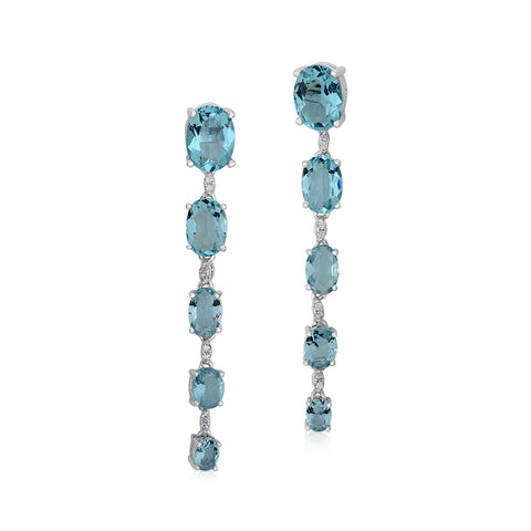 MASSETE Sterling Silver 925 Simulated Aquamarine Oval Cut Faceted Graduated Linear Long Drop Dangle Post Earrings