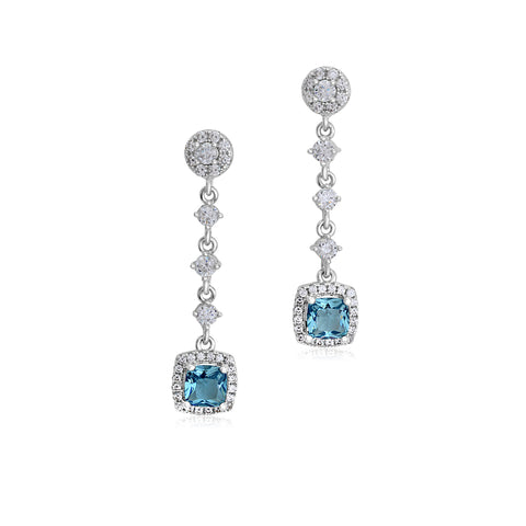 MASSETE Sterling Silver 925 Simulated Aquamarine Square Halo Dangle Drop Post Earrings with Cubic Zirconia