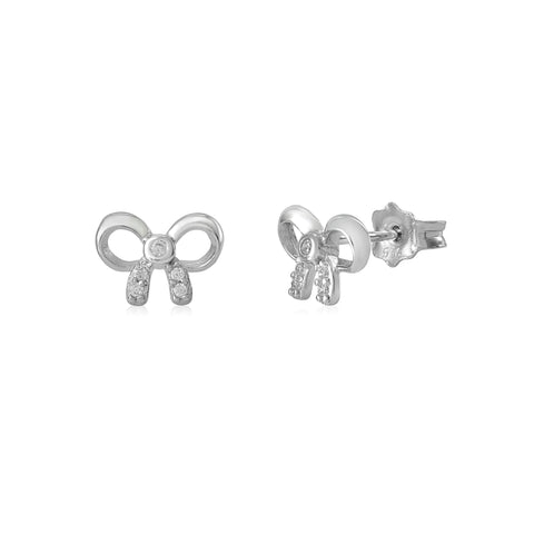 MASSETE Sterling Silver 925 Pave CZ and Polished Bow Stud Post Earrings