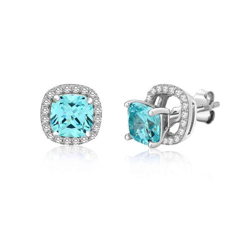 MASSETE Sterling Silver 925 Simulated Aquamarine Rounded Square Halo Stud Post Earrings with Removeable Jacket