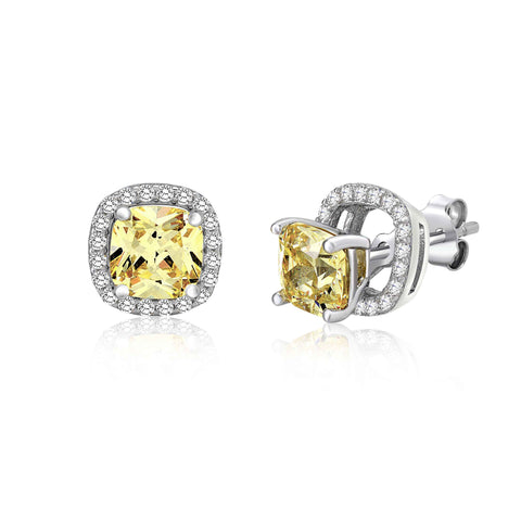 MASSETE Sterling Silver 925 Simulated Diamond Yellow Pale Rounded Square Halo Stud Post Earrings with Removeable Jacket