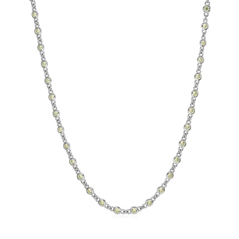 MASSETE Sterling Silver 925 Simulated Diamond Faint Yellow by the Yard Long Opera Length Necklace Pendant Chain 35""