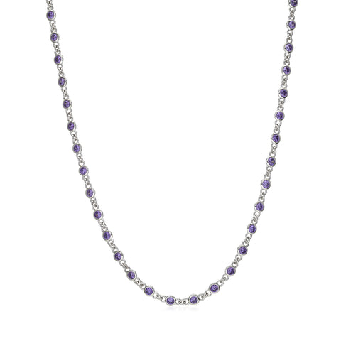 MASSETE Sterling Silver 925 Simulated Amethyst by the Yard Long Opera Length Necklace Pendant Chain 35""