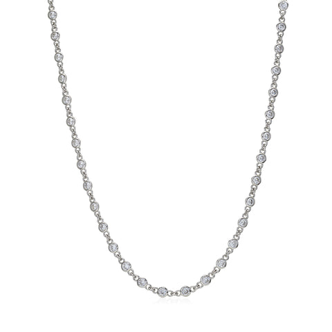 MASSETE Sterling Silver 925 Simulated Diamond by the Yard Long Opera Length Necklace Pendant Chain 35""