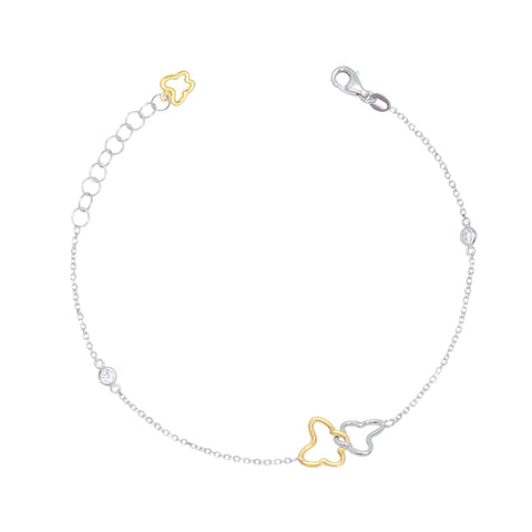 UNICORNJ-Childrens-Tweens-Teens-14k-White-and-Yellow-Gold-Cubic-Zirconia-Linked-Butterfly-Bracelet-7.25""