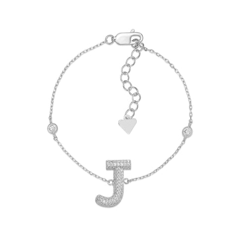 "UNICORNJ Sterling Silver 925 Initial Bracelet with Pave CZ Letter J 7"" Italy"