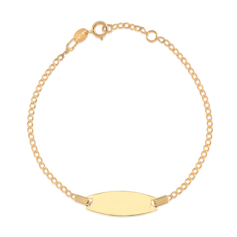 14K-Yellow-Gold-Curb-Chain-Bowed-ID-Bracelet-6""