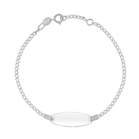 14K-White-Gold-Curb-Chain-Bowed-ID-Bracelet-6""