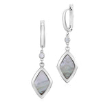 UNICORNJ Sterling Silver Leverback Earrings with Bezel Set CZ and Rhombus Shape Mother of Pearl Dangle Italy