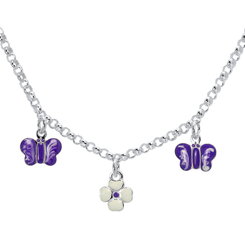 Unicornj-Sterling-Silver-Childrens-Necklace-with-Purple-Butterfly-and-Clover-Charms