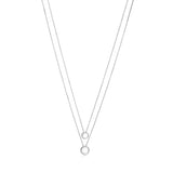 "UNICORNJ Sterling Silver High Polished Double Layer Ball Necklace Pendant on Cable Chain 19"" Italy"