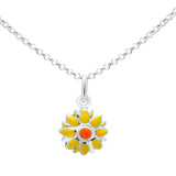 Unicornj-Sterling-Silver-Childrens-Pendant-with-Yellow-and-Orange-Flower-Charm