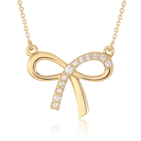 Bow Pendant Necklace in 14K Gold with CZ - Massete