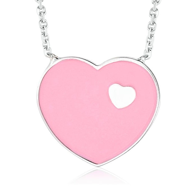14K White Gold Pink Enamel Heart on Heart Pendant Necklace 16 Inches - Massete