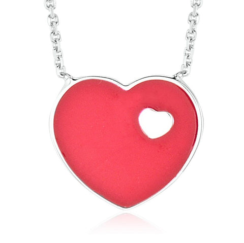 14K White Gold Red Enamel Heart on Heart Pendant Necklace 16 Inches - Massete