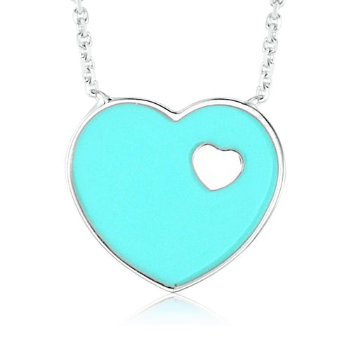 14K White Gold Light Blue Enamel Heart on Heart Pendant Necklace 16 Inches - Massete