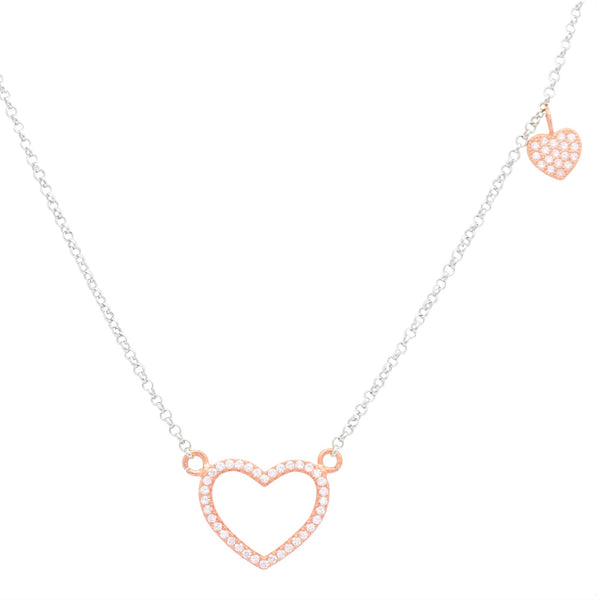 589ea129123 UNICORNJ Childrens Teens Sterling Silver Rose Gold Plated Cubic Zirconia  Pave Open Heart Outline and Small Heart Charm Accent Pendant Necklace 16