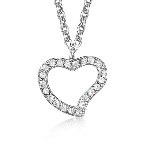 Heart Pendant Necklace in Sterling Silver with CZ Pavé - Massete