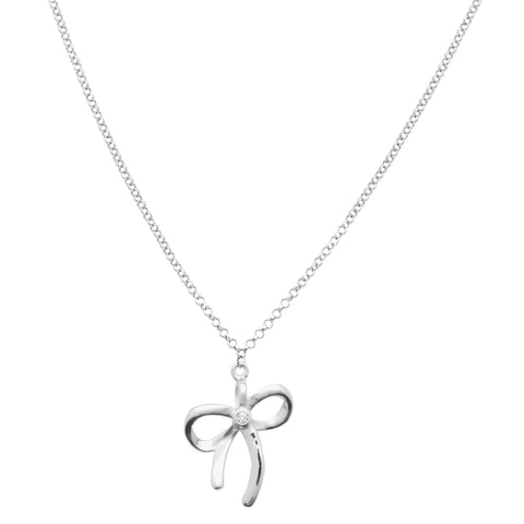 Bow Pendant Necklace in Sterling Silver with CZ Pavé - Massete